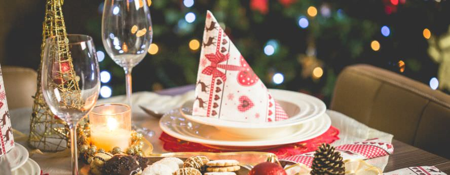 Table Setup With Decorations For Christmas Dinner Or Lunch