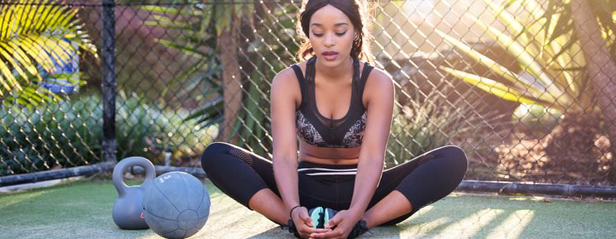 Young Black Women With Dumbbells Exercising Outdoors Fitness And Health