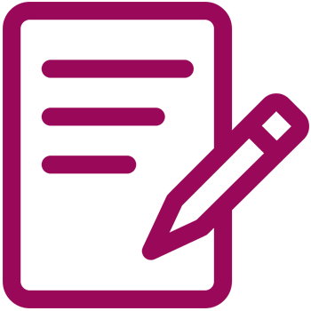 Underwriting Document Maroon Outline Icon