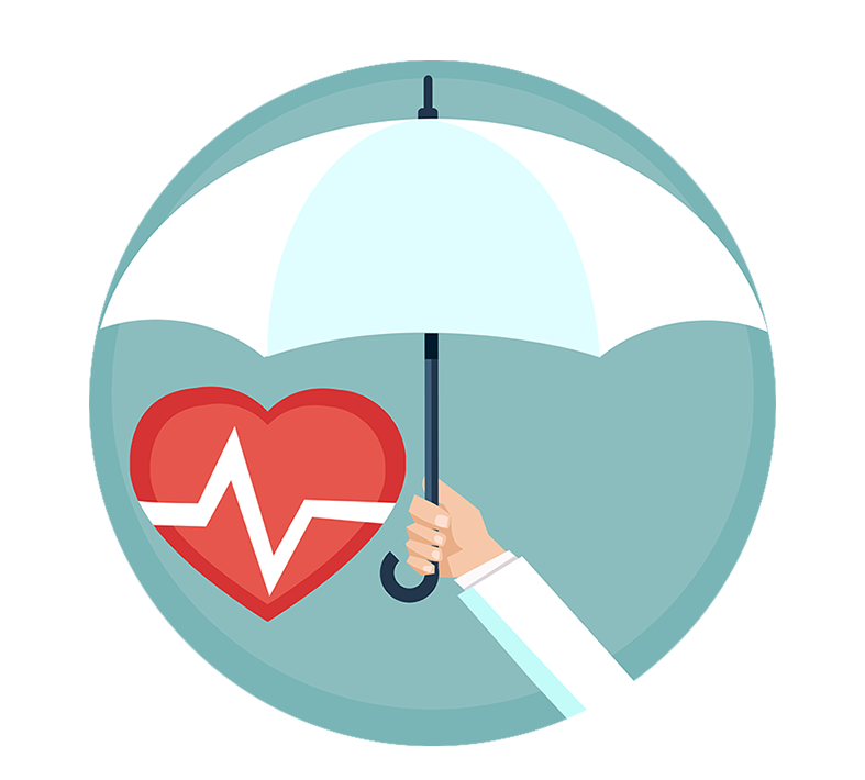 Health Insurance Cover Umbrella Protecting Heart