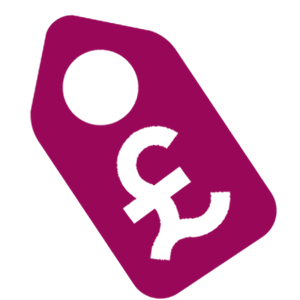 Affordable Price Tag Maroon Icon
