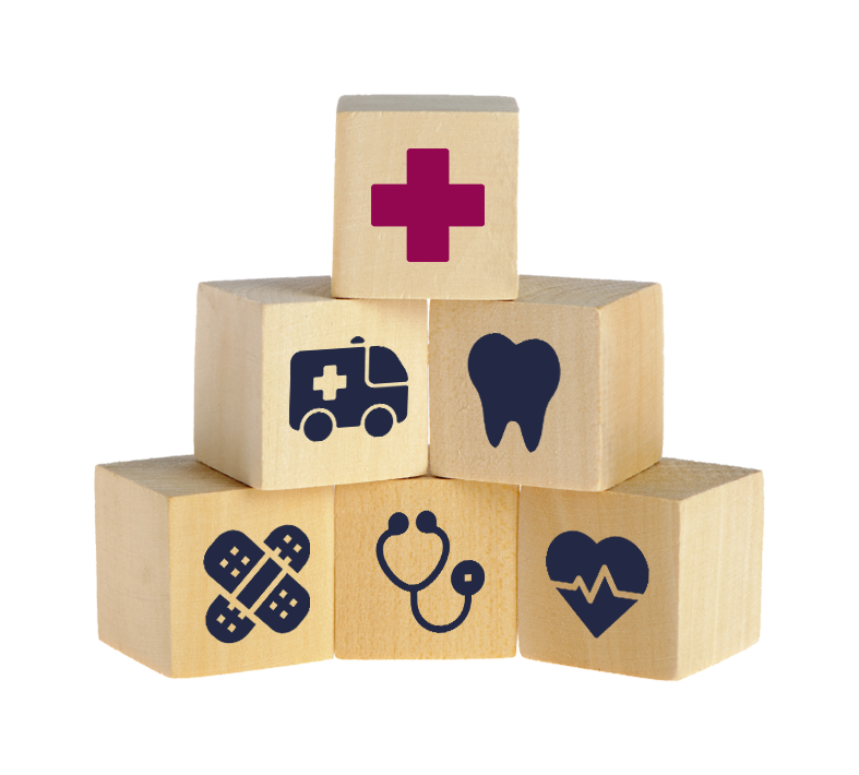 Health Insurance Benefits Icons On Wooden Blocks Healthcare Levels